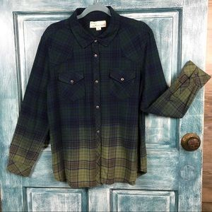 Vintage Havana Dipped Dyed Flannel Shirt Size Med